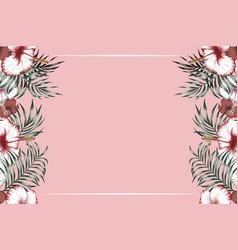 horisontal tropical frame pink background vector image