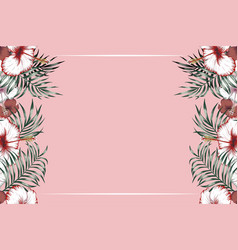 horizontal tropical frame pink background vector image