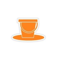 Icon sticker realistic design on paper pail vector