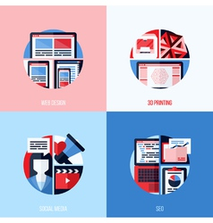 Icons of web design 3D printing social media SEO vector