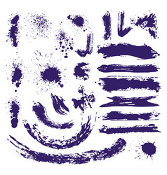 ink paint brush splashes brushstrokes and blots vector image