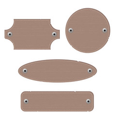 Leather labels with rivets different shapes vector