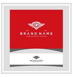 Letter c shield wing logo design concept vector