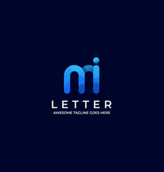 Logo abstract letter m and i gradient colorful vector