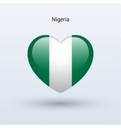 Love Nigeria symbol Heart flag icon vector
