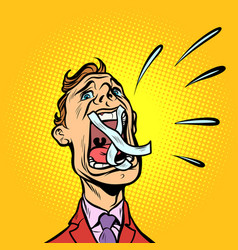 man screaming taped mouth vector image