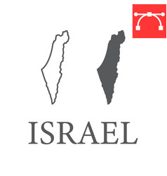 Map israel line and glyph icon vector
