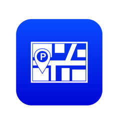 Map with car parking pointer icon digital blue vector