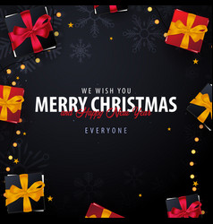 marry christmas and happy new year banner on dark vector image