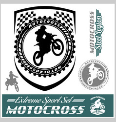 Moto track logos and bages vector