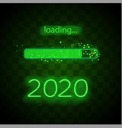 neon progress bar 2020 year vector image
