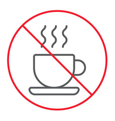 no coffee cup thn line icon prohibition vector image