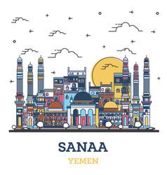 outline sanaa yemen city skyline with colored vector image