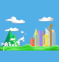Paper art style flat design color city town house vector