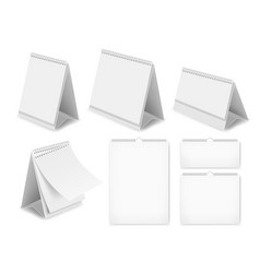 Paper blank desk calendar set realistic vector