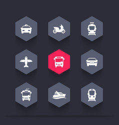 passenger transport icons public transportation vector image