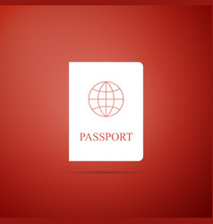 passport icon isolated on red background vector image