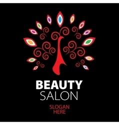 peacock logo for beauty salon vector image