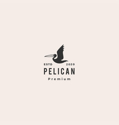 Pelican gulf bird coast beach logo icon hipster vector