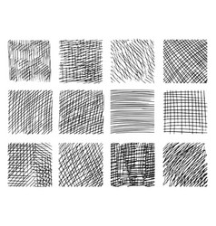 pencil sketch hatching with criss-cross effect set vector image