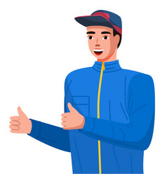 positive young man making thumbs up sign with both vector image