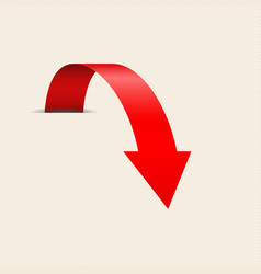 red down arrow on beige background vector image
