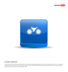 retro bike icon - 3d blue button vector image