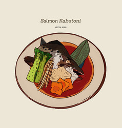 salmon kabutoni steamed hand draw sketch vector image
