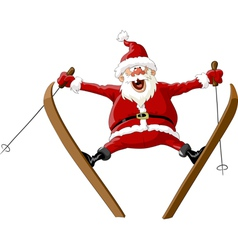 santa and ski vector image