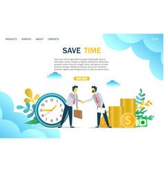 save time website landing page design vector image
