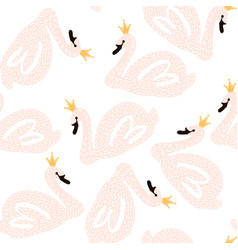 Seamless childish pattern with swan princess vector