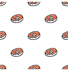 Seamless pattern with doodle doughnuts vector image