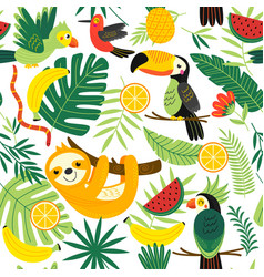 Seamless pattern with tropical animals vector