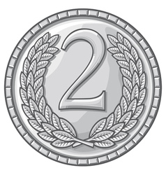 second place medal with laurel wreath vector image