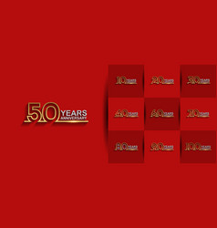 Set anniversary logo style with golden silver vector