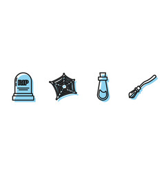 Set line bottle with potion tombstone with rip vector