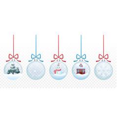 set merry christmas glass ball toys vector image
