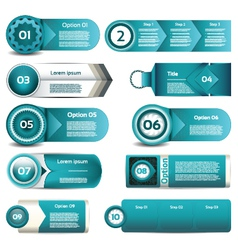 Set of blue progress version step icons eps 10 vector