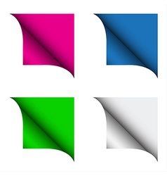 Set of four color curled corner vector image