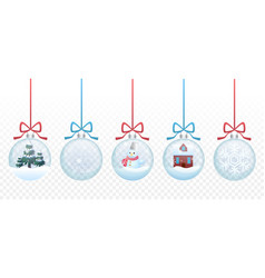 Set of merry christmas glass ball toys vector