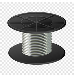 Silver cable coil mockup realistic style vector
