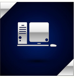 Silver computer monitor with keyboard and mouse vector