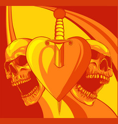 skulls with heart with knife vector image