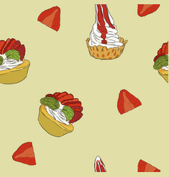 strawberry cheese cake hand draw sketch vector image