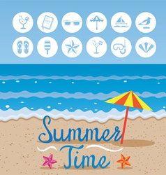 Summer Beach Background with Text and Icons vector image