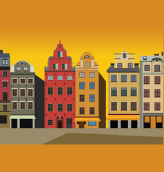 sunset view of houses on stortorget square vector image