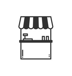 Thin line icons set cashbox ticket window food vector