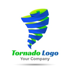 Tornado colorful 3d volume logo design corporate vector