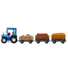 Tractor with three wagons loaded with stone and vector