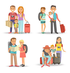 traveling family children summer holiday tourism vector image